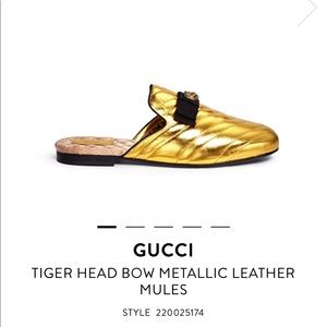Tiger head bow metallic mules